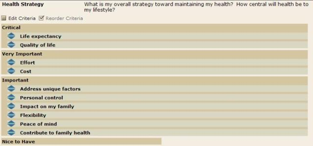 Health Strategy -Criteria