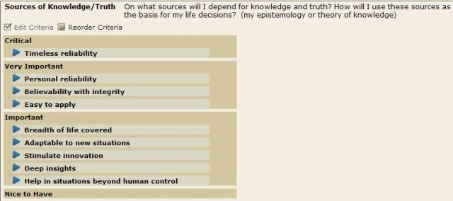 Epistemology -Criteria